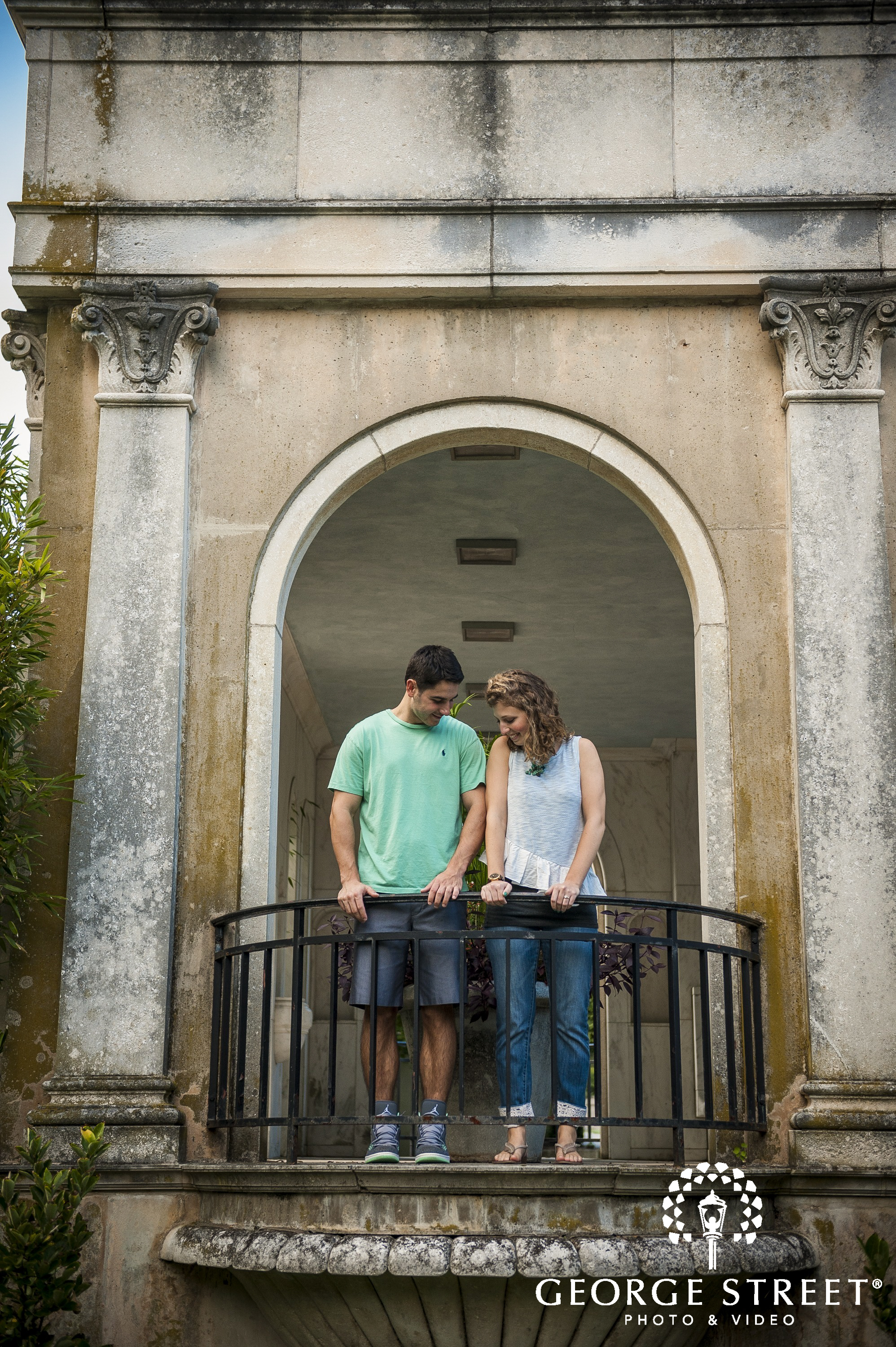 young couple on terrace