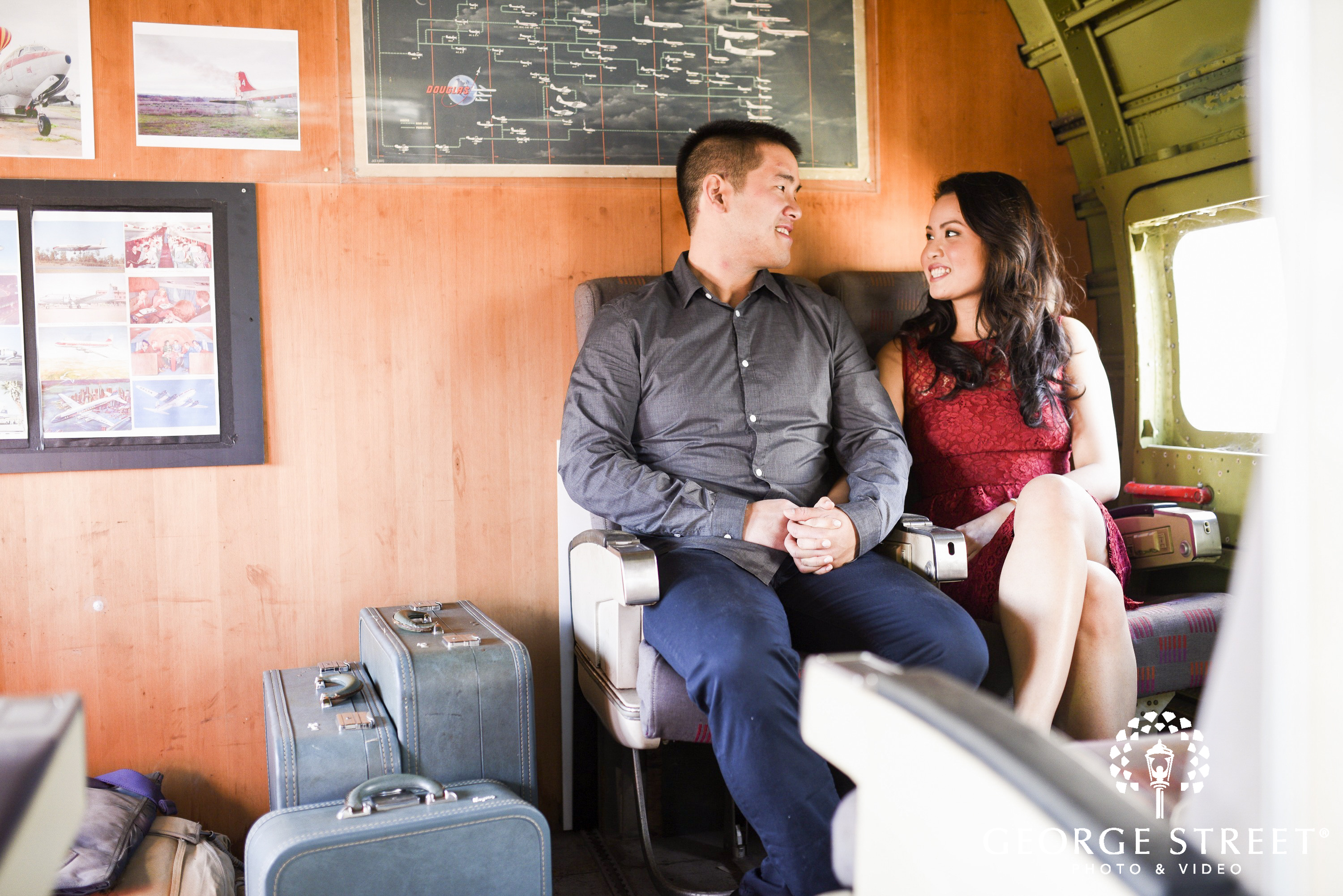 couple traveling in air plane