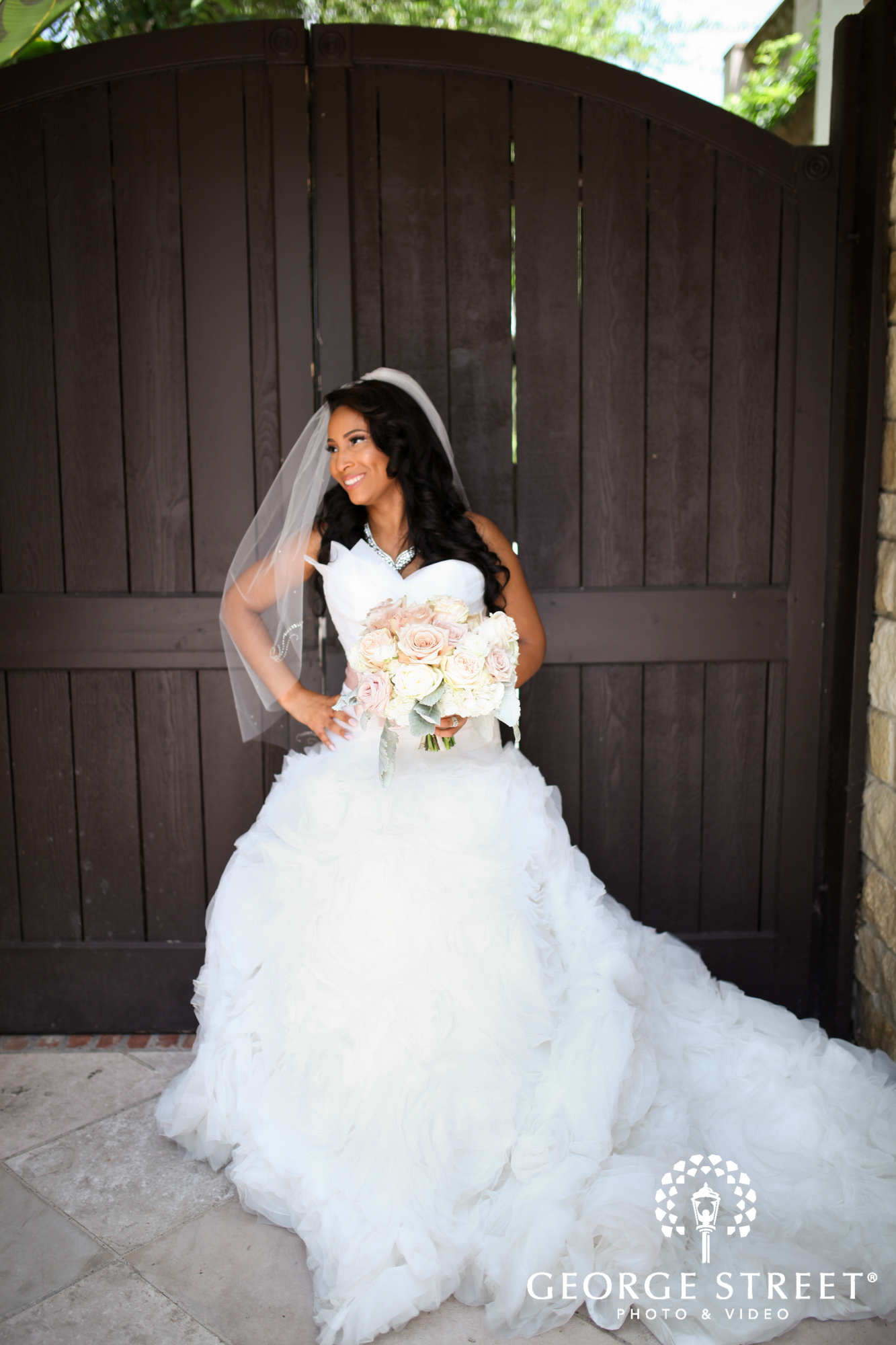 the bell tower on 34th bridal portrait