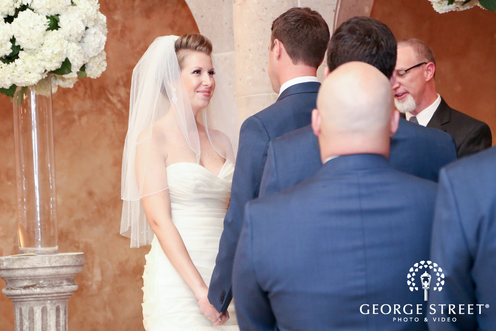 smiling bride ceremony