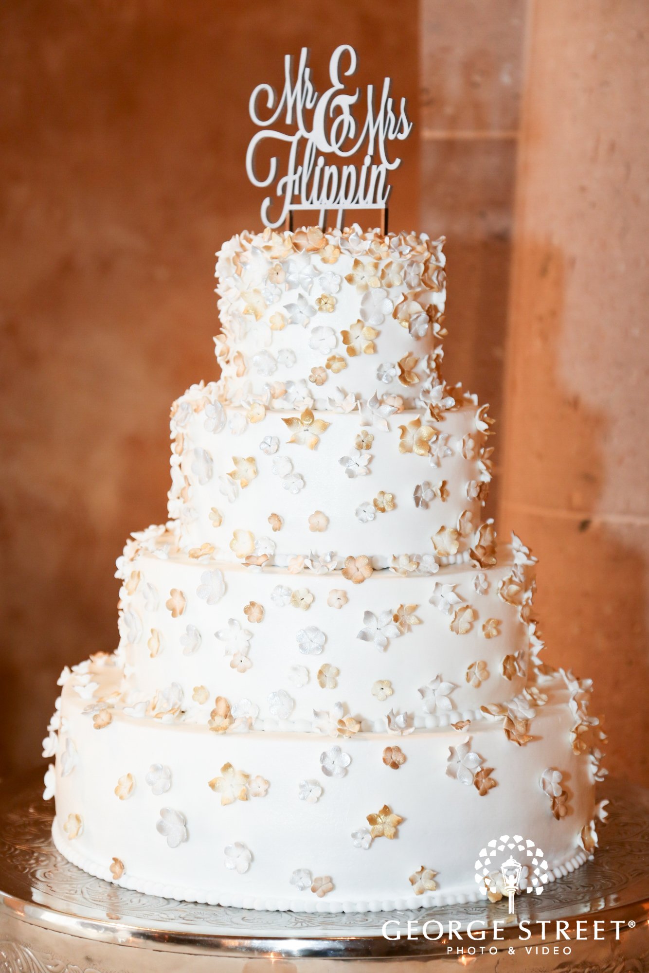 wedding cake with floral accent