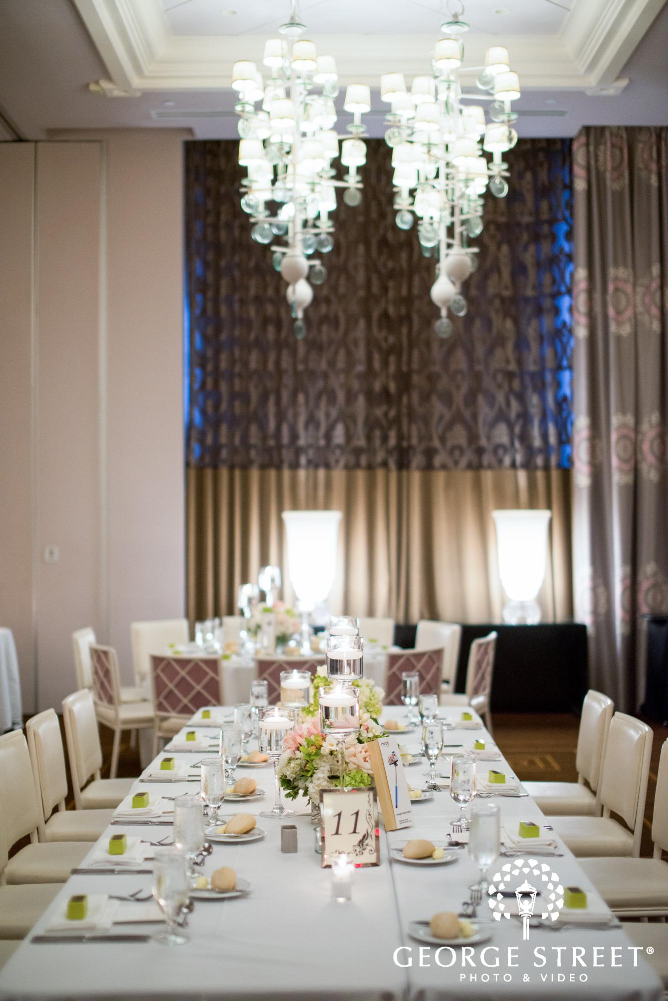 Hotel Monaco Philadelphia Beautiful Indoor Wedding Reception White Table Decor 4